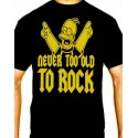 Camiseta hombre Simpsons never too old to rock