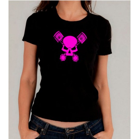 Camiseta mujer pistones rosas