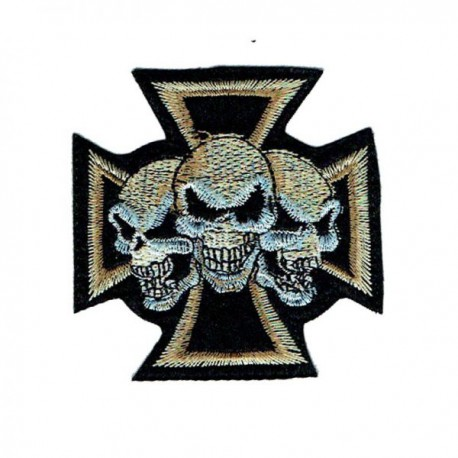 iron cross patch with three skulls