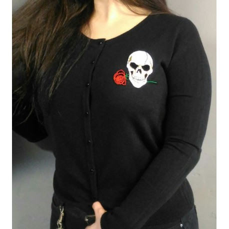 Cardigan with skull patch
