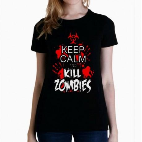 Women Keep calm and kill zombies T shirt