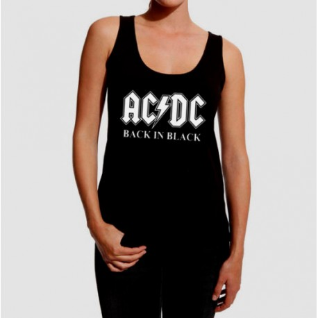 black tirantes in Back chica ACDC mujer Camiseta SMR7qwpxPM