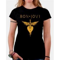 Camiseta mujer Bon Jovi dorada