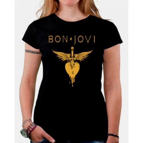 Women Bon Jovi gold ink T shirt