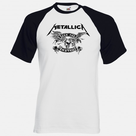 Men Metallica Seek and destroy baseball T shirt