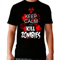 Camiseta hombre Keep calm and kill zombies